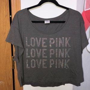 PINK loose fit crop shirt